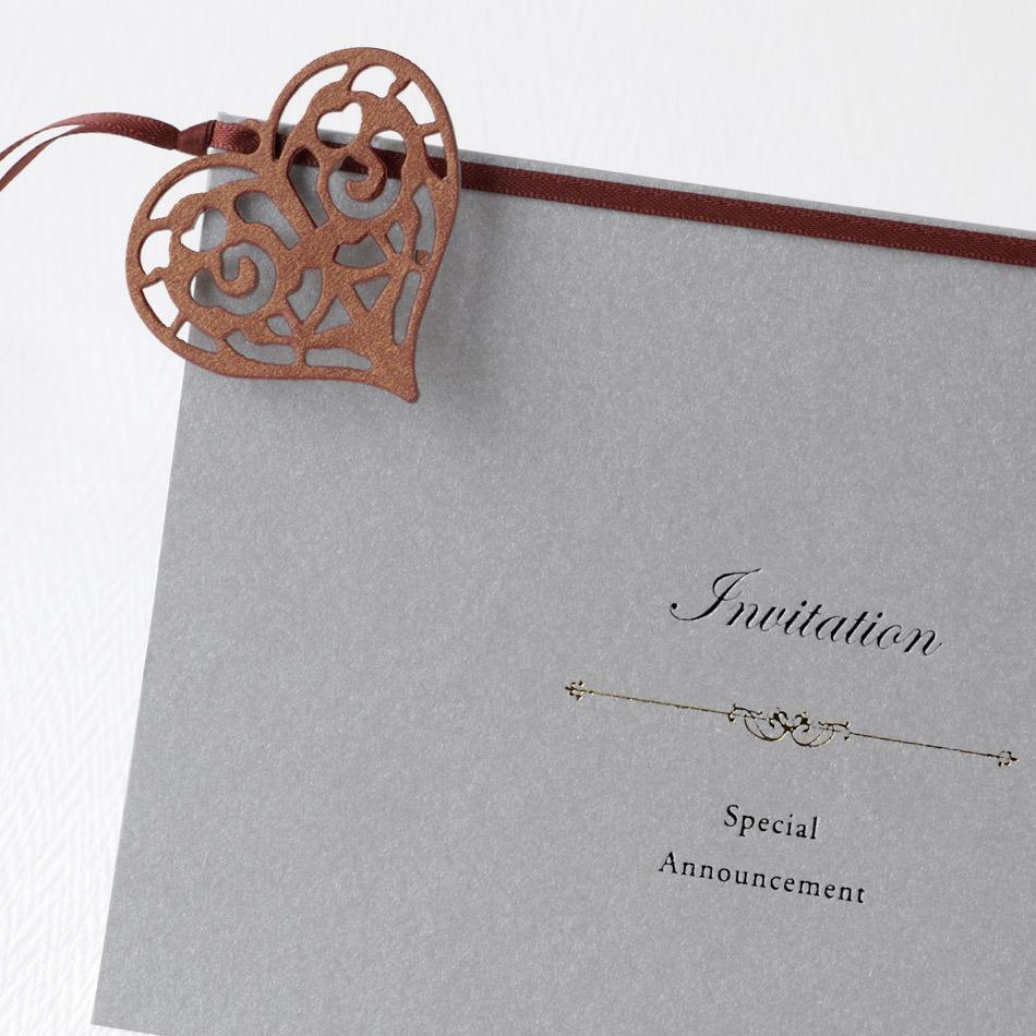 結婚式招待状 手作り サンタムールシルバー