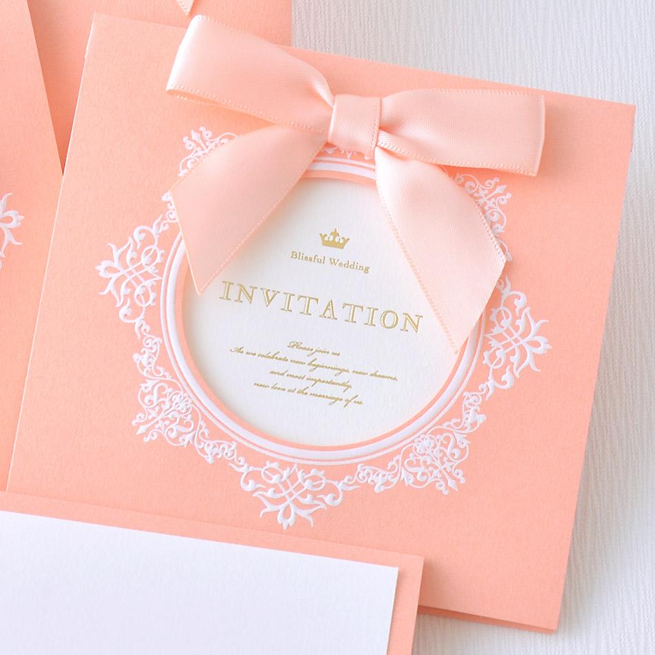 結婚式、招待状の手作りセット、マムールピーチ