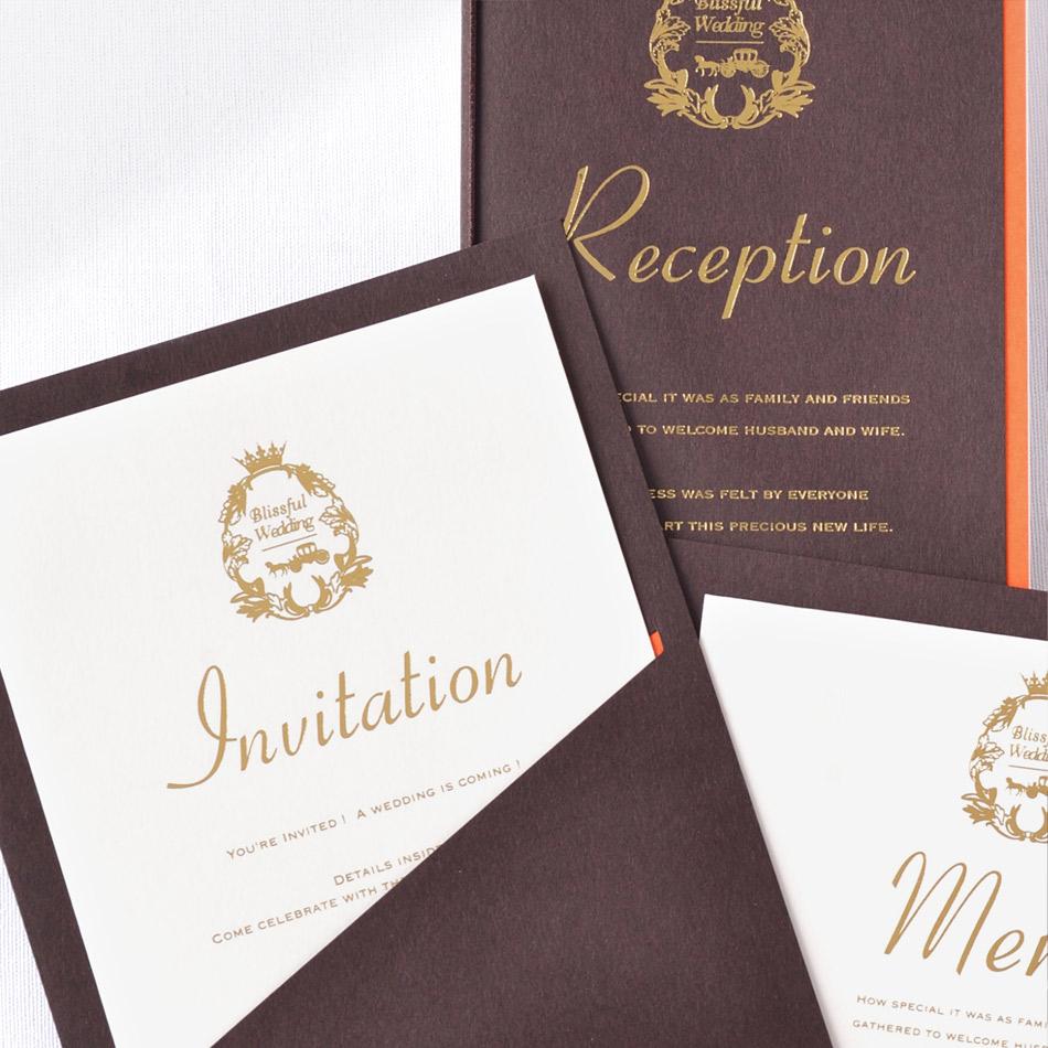 結婚式、招待状の手作りセット、ポケット:ブラウン